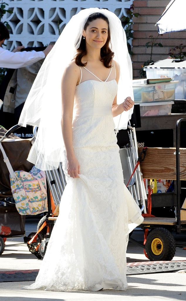 Emmy Rossum Is Caught in a Wedding Dress, but Is This What the ...