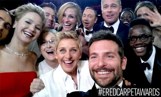 Ellen DeGeneres, Oscar Selfie, #ERedCarpetAwards