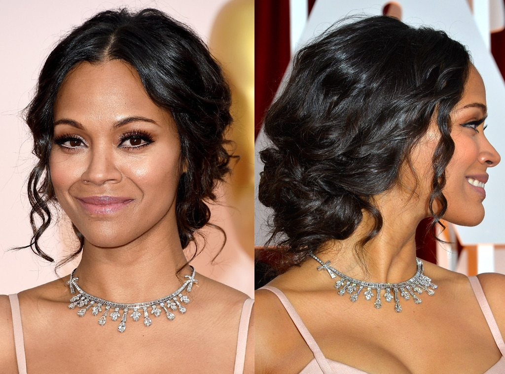 Zoe Saldana, 2015 Academy Awards Oscars, Beauty, Hair