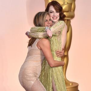 Jennifer Aniston, Emma Stone, 2015 Academy Awards Oscars, Candids
