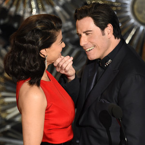 Idina Menzel, John Travolta, 2015 Academy Awards Oscars
