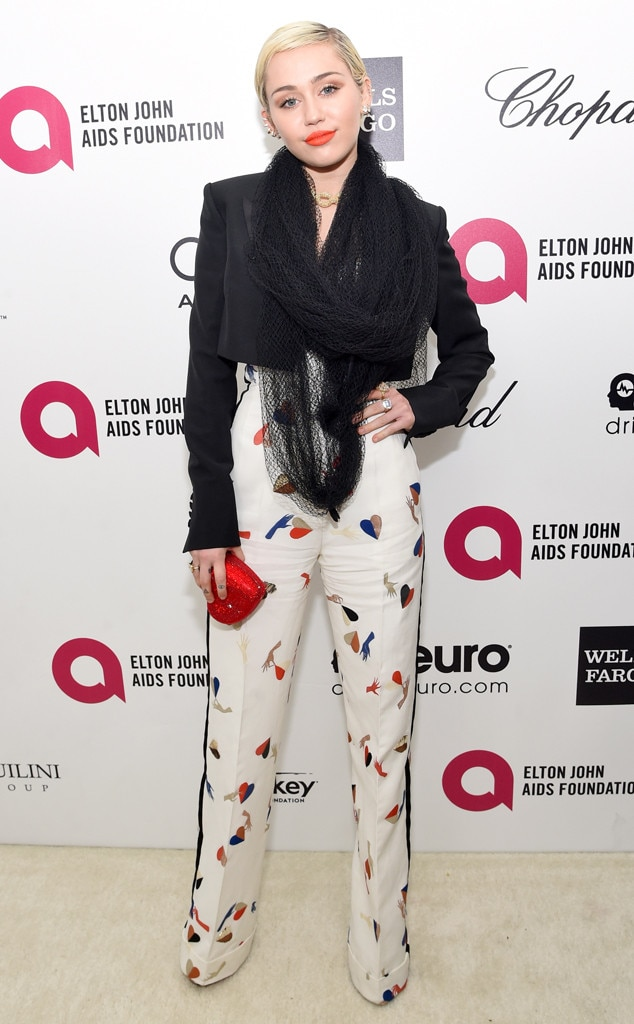 Miley Cyrus, Elton John Oscar Party 2015