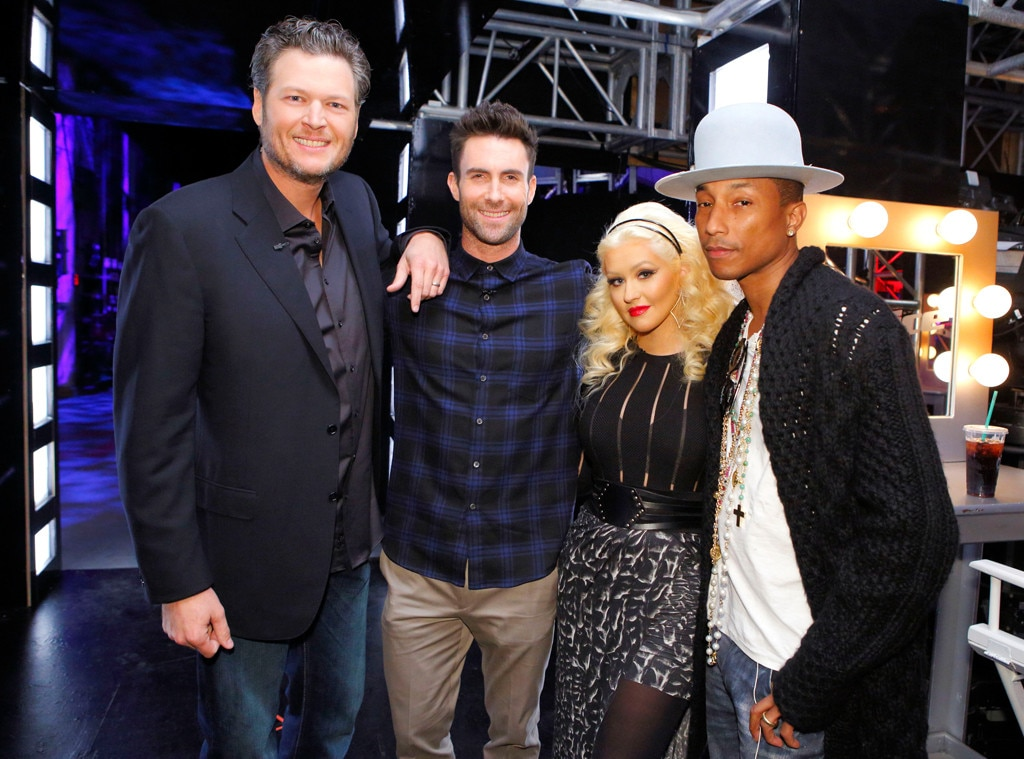 Blake Shelton, Adam Levine, Christina Aguilera, Pharrell Williams, The Voice
