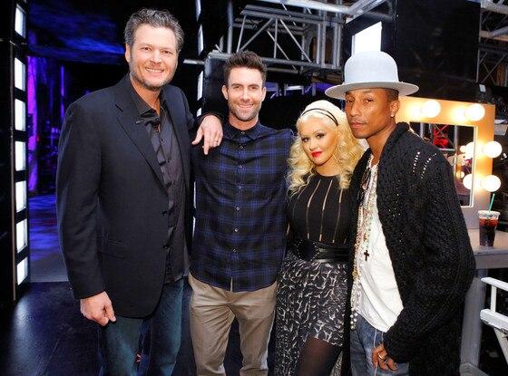 Blake Shelton, Adam Levine, Christina Aguilera, Pharrell Williams, The Voice