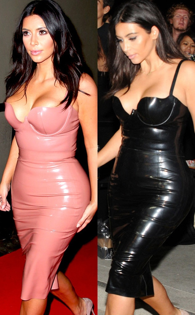 Kim Kardashian &amp- Rita Ora Both Wear Sexy Pink Latex Dresses on the ...