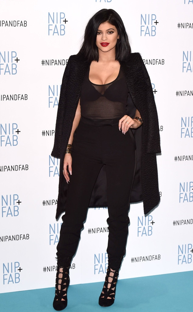 Kylie Jenner Shows Bra In Semi-Sheer Black Outfit In Londonu2014See The Photos | E! News