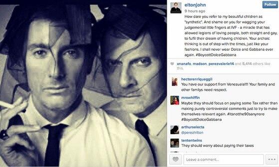 Elton John, Dolce & Gabbana, Instagram Post