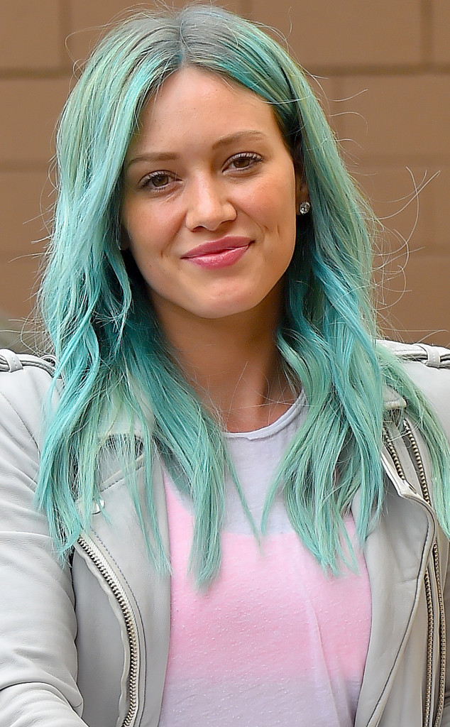 Hilary duff is back from vacay debuts blue mermaid hair color hilary duff green hair junglespirit Choice Image