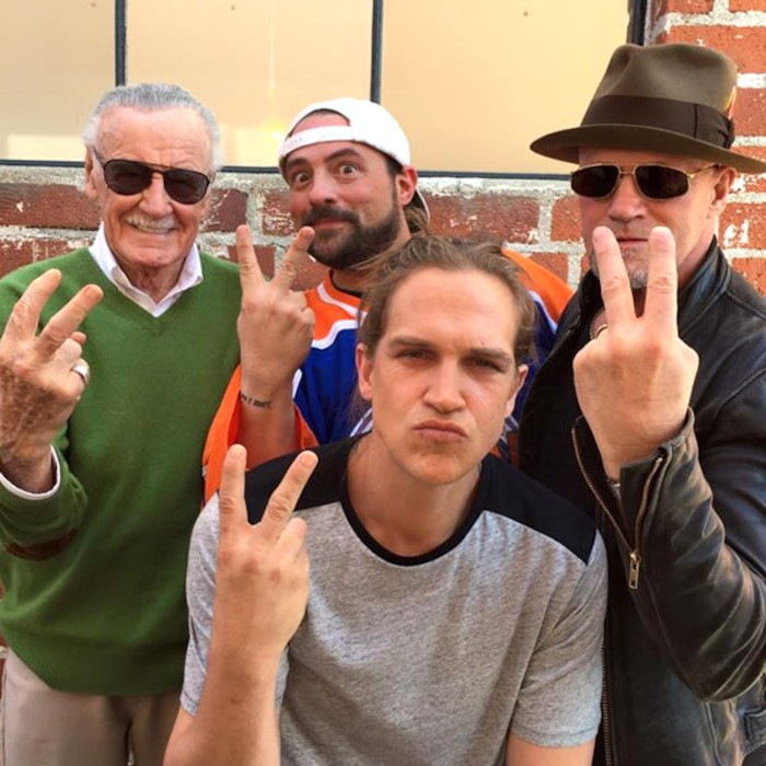 Stan Lee, Kevin Smith, Jason Mewes and Michael Rooker