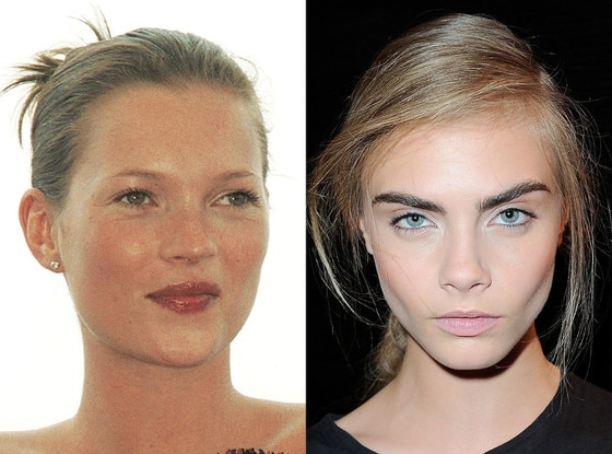 History of Eyebrows, Kate Moss, 1999, Cara Delevingne, 2012