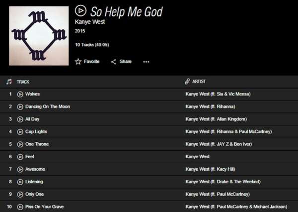 Kanye West, So Help Me God Album