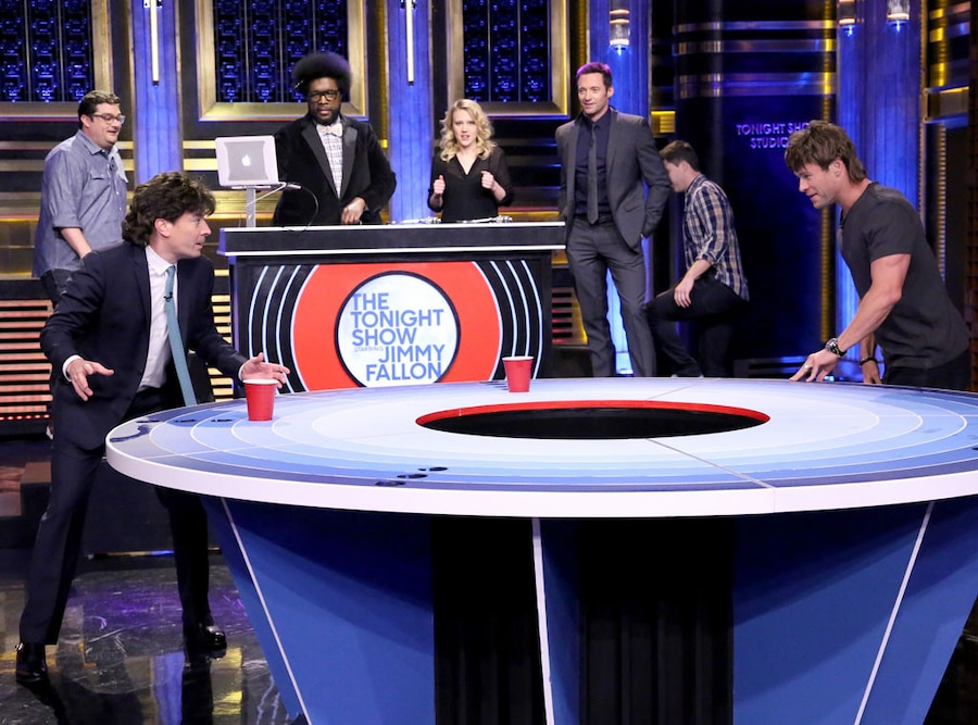 Bobby Moynihan, Jimmy Fallon, Questlove, Kate McKinnon, Hugh Jackman, Colin Jost, Chris Hemsworth, Tonight Show