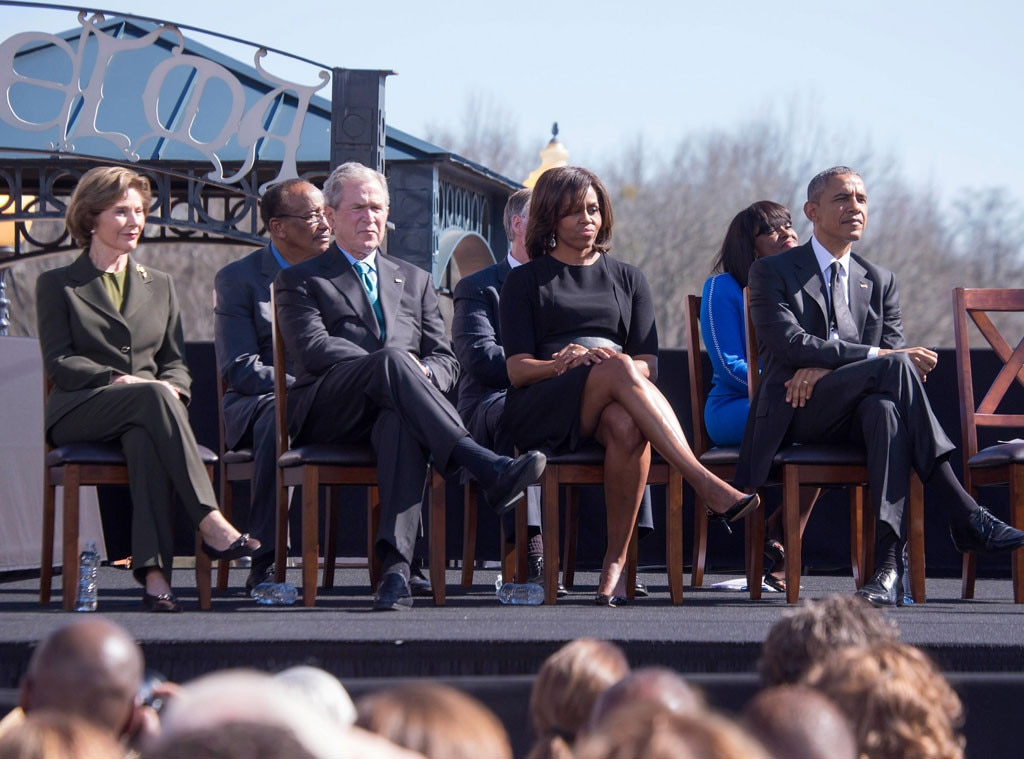 Laura Bush, George W. Bush, first lady Michelle Obama, Barack Obama
