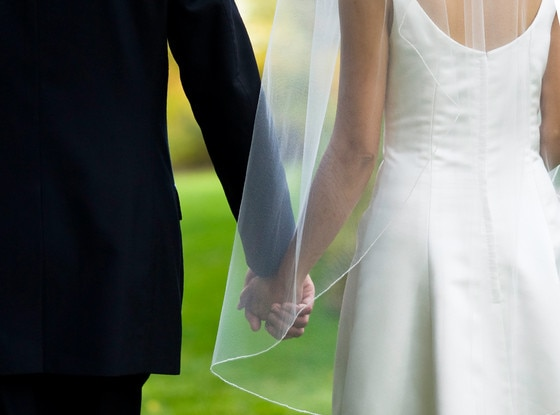 Bride and Groom Holding Hands, Wedding