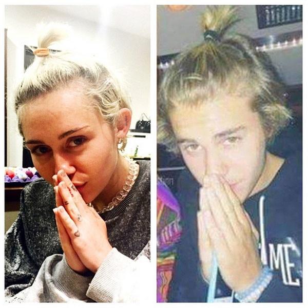 Miley Cyrus, Justin Bieber, Instagram
