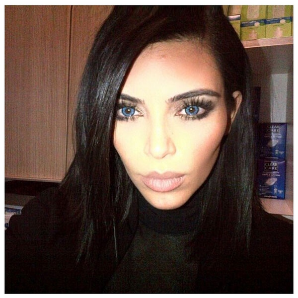 Kim Kardashian, Blue Eyes, Instagram