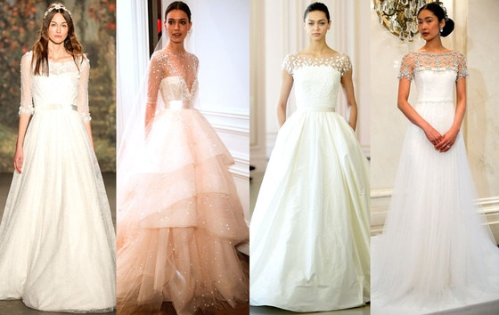 Sheer Illusion Sleeves Wedding Dresses, 2016 Spring Bridal