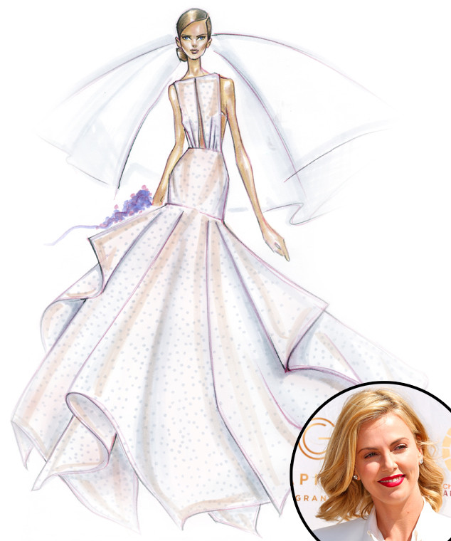 Designers sketch their dream wedding dresses for celeb brides to bridal predictions charlize theron angel sanchez junglespirit Choice Image