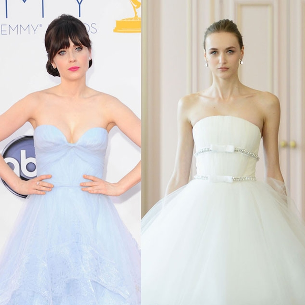 Zooey deschanel from celeb wedding dress predictions e news for Zooey deschanel wedding dress