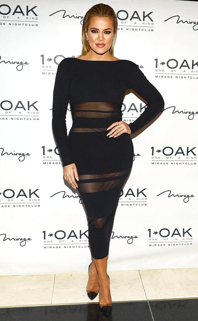 Khlo kardashian shows curves in risqu black dress at las for How to dress like khloe kardashian