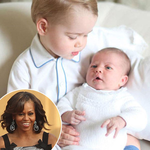 Princess Charlotte, Prince George, Duchess Catherine, Prince William, Michelle Obama