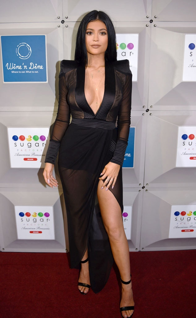 Kylie Jenner Shows Major Cleavage in Racy Black Dress ...