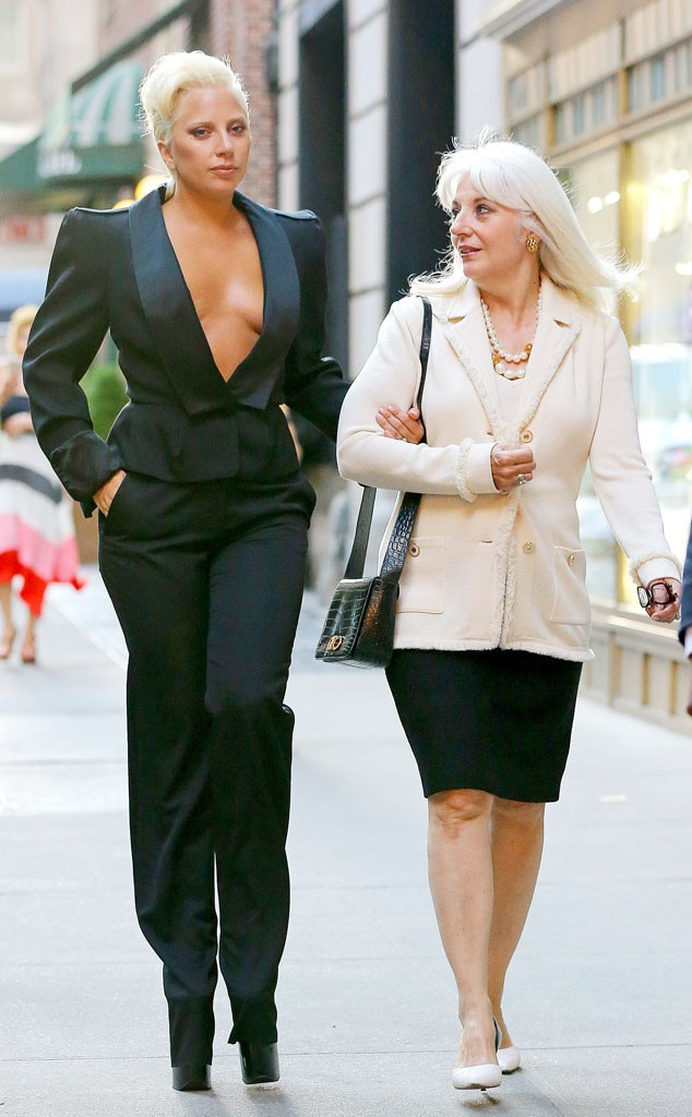 Lady gaga s mom keeps an eye on her famous daughter s busting cleavage