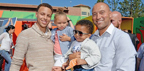Stephen Curry, Riley Curry, Jalen Jeter-Martin, Derek Jeter, Nickelodeon Kids Choice Sports Awards