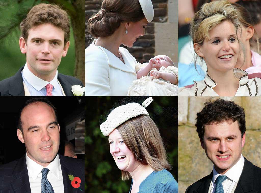 Adam Middleton, Laura Fellows, Princess Charlotte, Duchess Catherine, Sophie Carter, Thomas Van Straubenzee, James Meade, Godparents