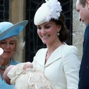 Queen Elizabeth, Princess Charlotte, Duchess Catherine, Prince Philip, Prince William, Camilla, Christening