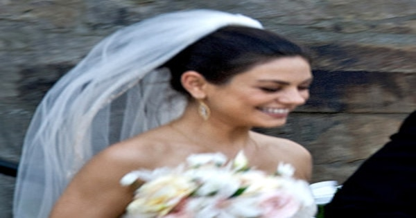 Mila Kunis Wears Three Different Wedding Dresses See