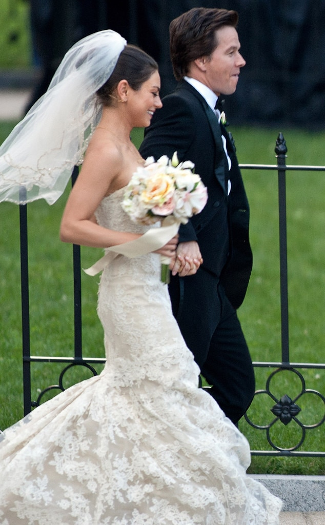 Mila Kunis Wears Three Different Wedding Dresses See