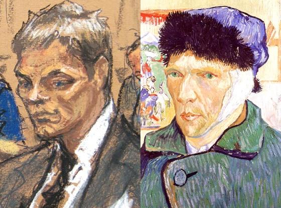 Tom Brady court sketch, Van Gogh