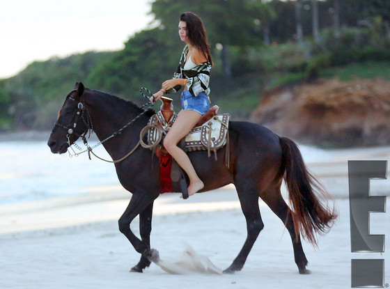 Kendall And Kylie Jenner Saddle Up In Bikinis While Riding