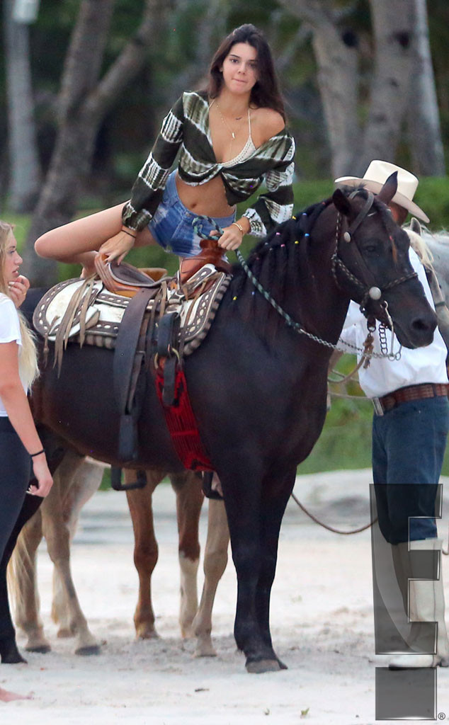 Kendall and Kylie Jenner Saddle Up in Bikinis While Riding ...
