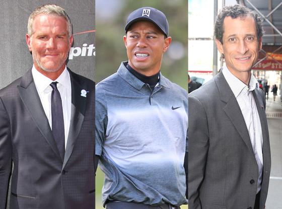 Brett Favre, Tiger Woods, Anthony Weiner