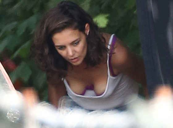 Katie Holmes Flashes Her Boobs and Bra While Bending Over ...