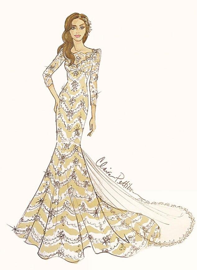 Brides Magazine, Ian Somerhalder, Nikki Reed, Dress Sketch