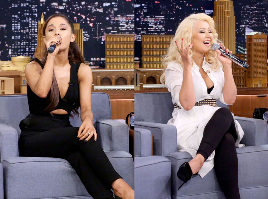 Ariana Grande, Christina Aguilera, Jimmy Fallon, The Tonight Show