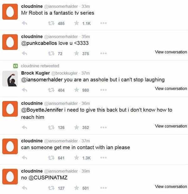 Ian Somerhalder, Twitter, Hacked