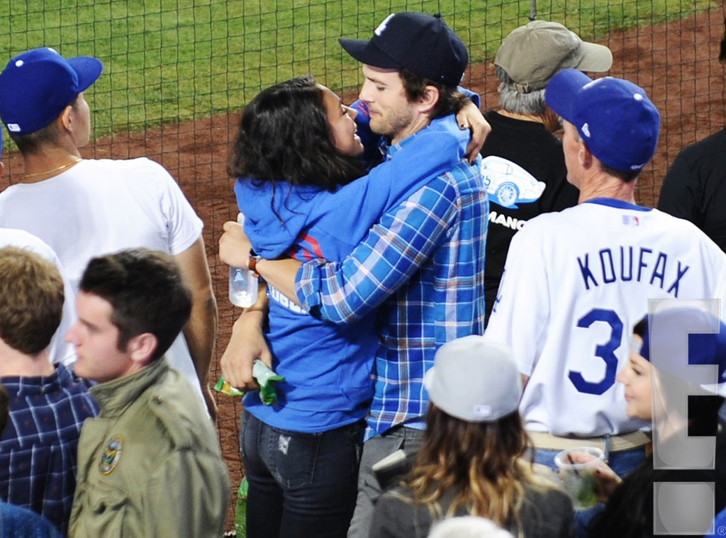 Mila Kunis, Ashton Kutcher, PDA, Dodgers Game, Exclusive