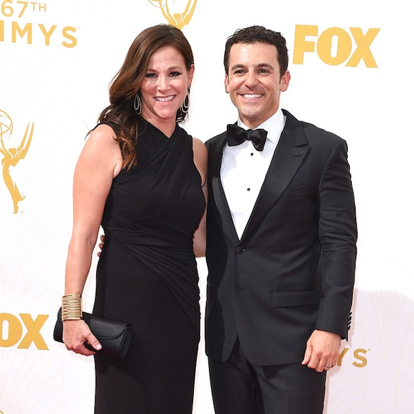 jennifer lynn stone fred savage from 2015 emmys red carpet couples e news. Black Bedroom Furniture Sets. Home Design Ideas