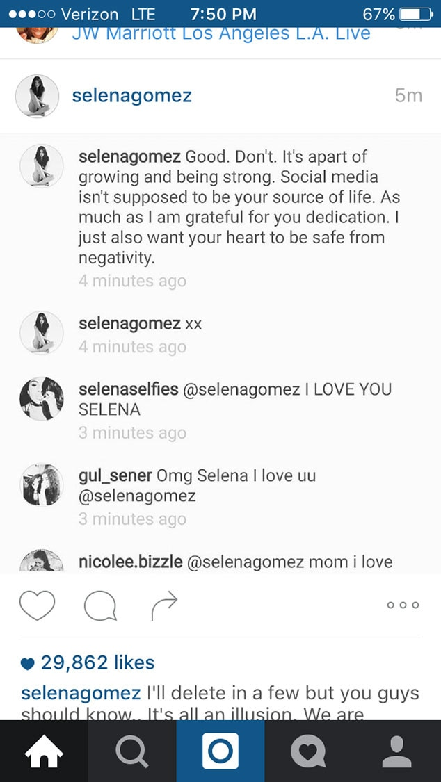 Selena Gomez, Cyberbullying, Instagram