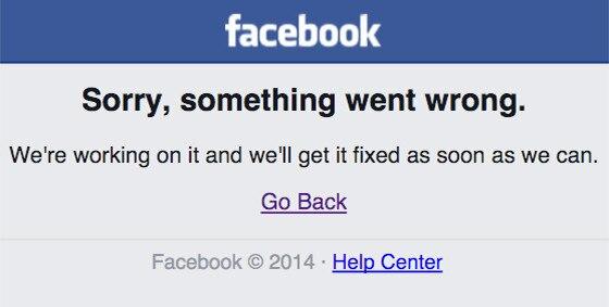 Facebook error message screengrab