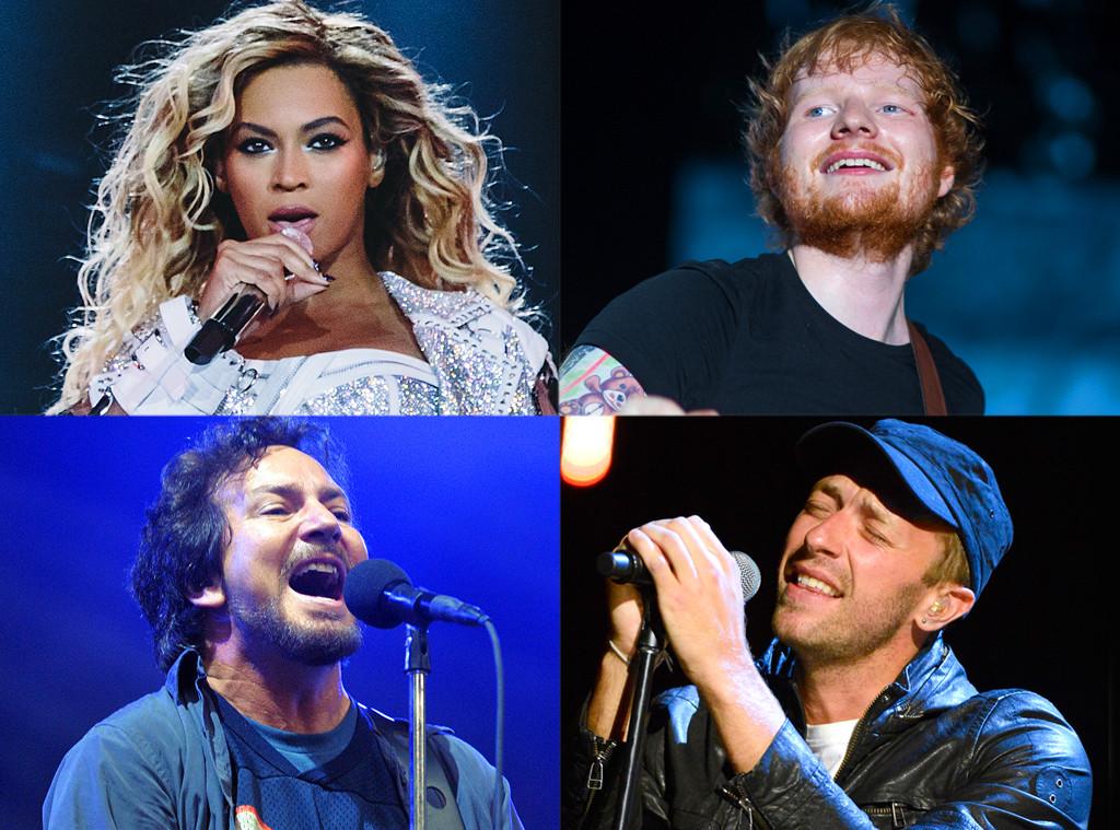 Beyoncé, Ed Sheeran, Pearl Jam, Coldplay