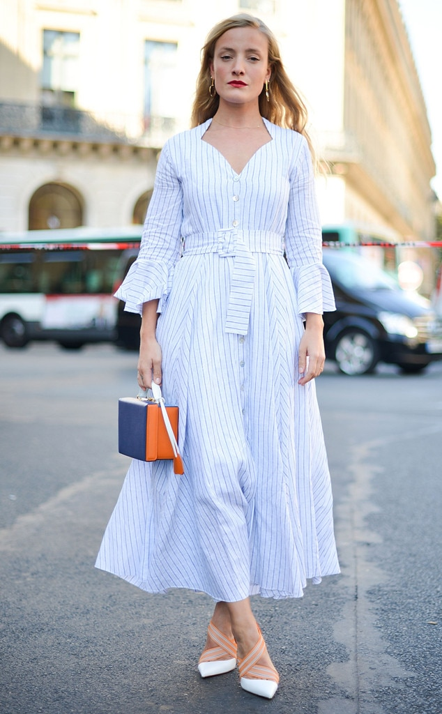 Pop Of Pinstripe From Street Style At Paris Fashion Week