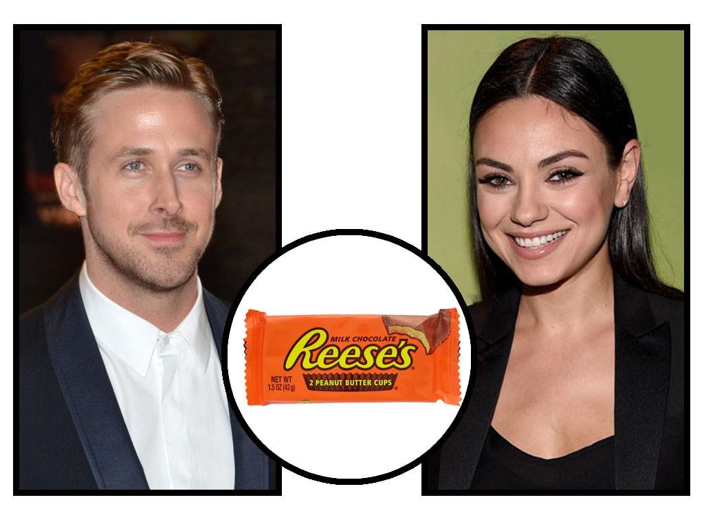 Celebs and Candy, Ryan Gosling, Mila Kunis, Reese's Peanut Butter Cups