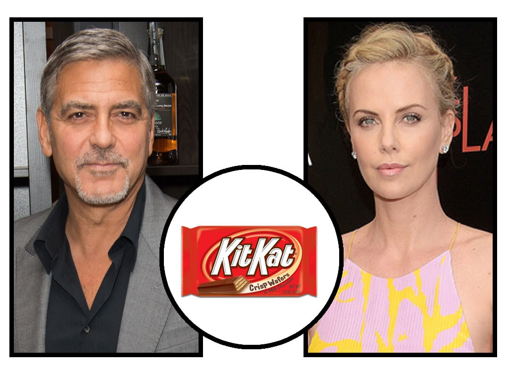 Celebs and Candy, George Clooney, Charlize Theron, Kit Kat