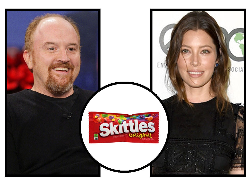 Celebs and Candy, Louis C.K., Jessica Biel, Skittles