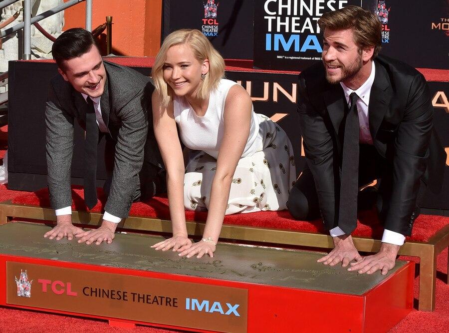 Jennifer Lawrence, Liam Hemsworth, Josh Hutcherson, Hand and Footprint Ceremony